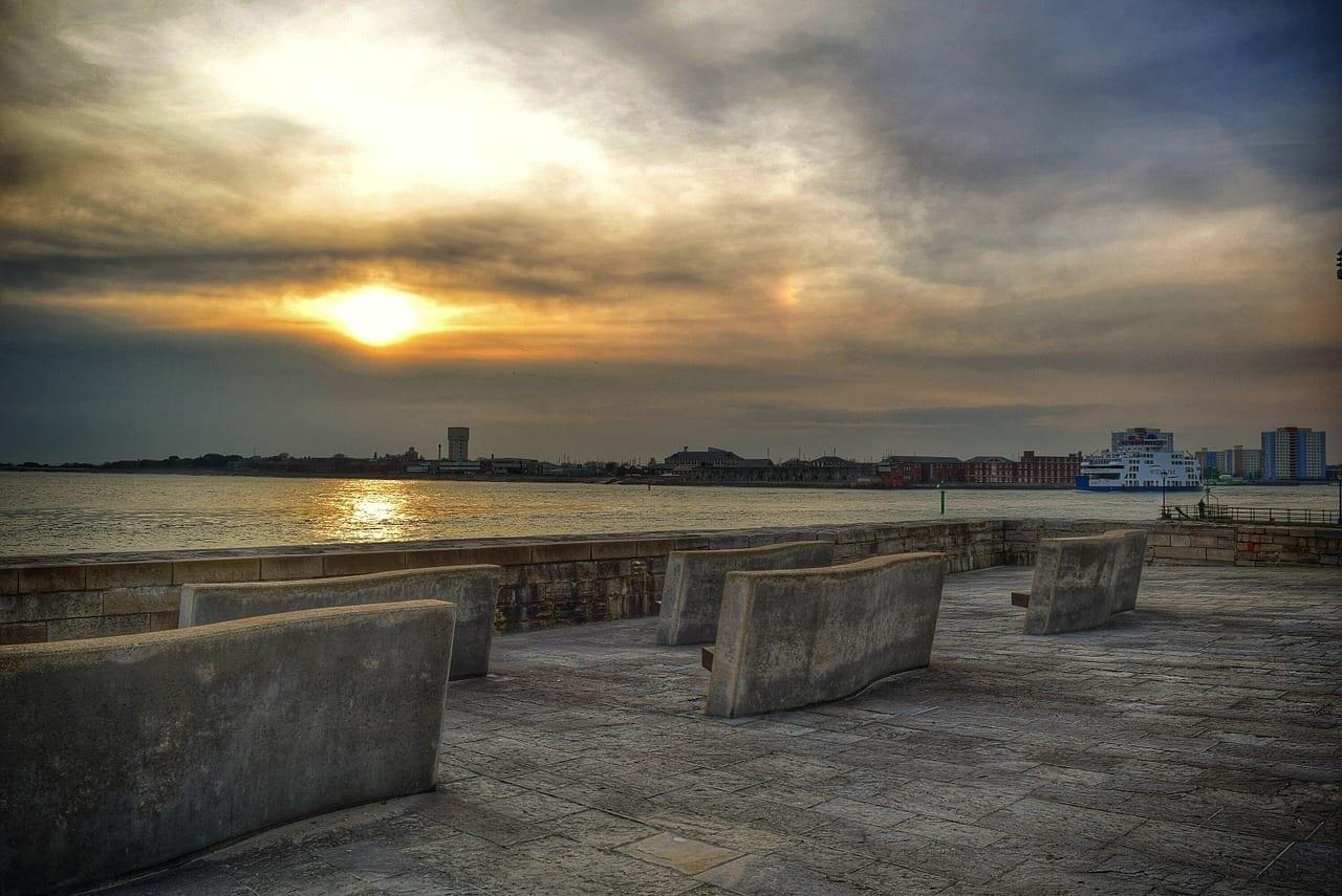 Puesta De Sol Mar Portsmouth Reino Unido