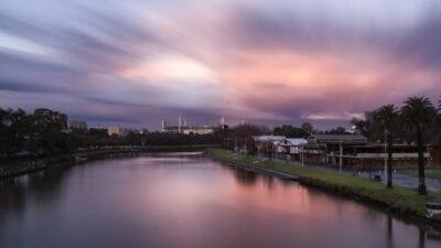 Puesta De Sol Melbourne Yarra Australia