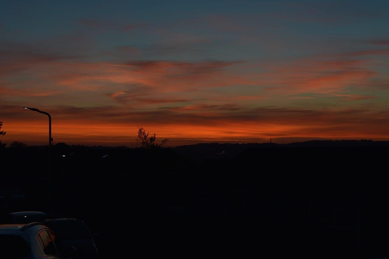 Puesta De Sol Plymouth Inglaterra Reino Unido