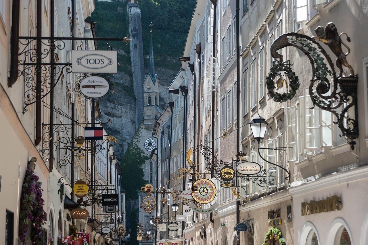 Salzburgo Getreidegasse Por Carretera Austria