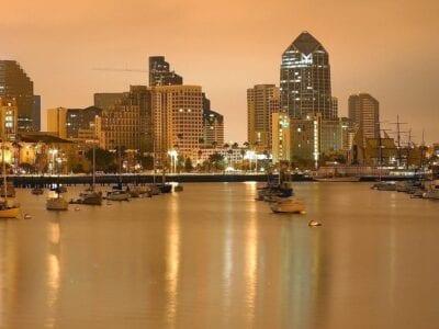 San Diego Barcos Por La Noche Estados Unidos