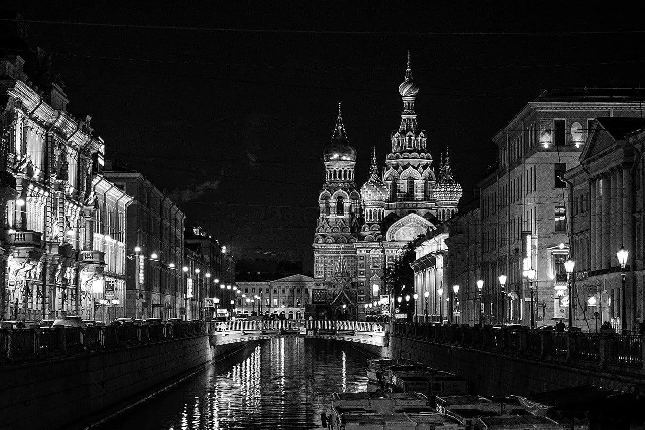 San Petersburgo Rusia Petersburgo Nonoj Ciudad De Noche Rusia