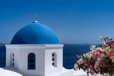Santorini Azul Cúpula Grecia