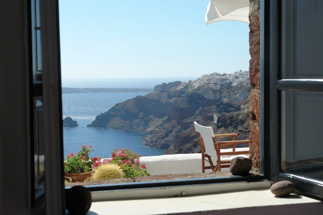 Santorini Ventana Punto De Vista Grecia