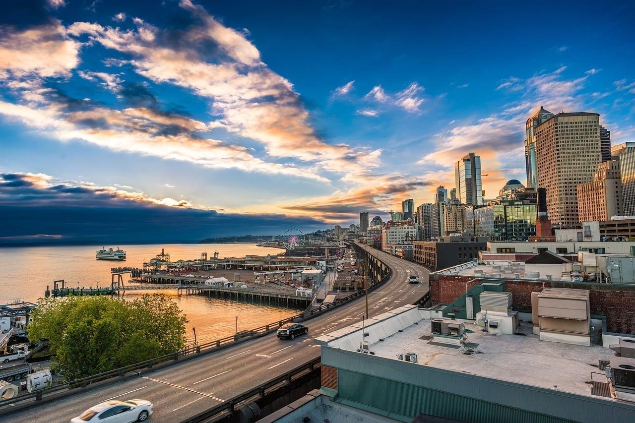 Seattle Puesta De Sol Marina Estados Unidos