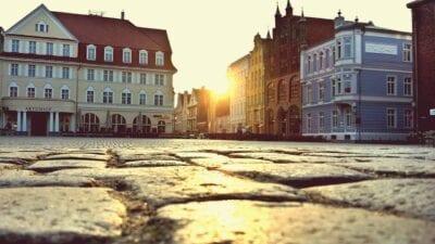 Stralsund Por La Noche Sun Alemania