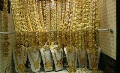 Todo lo que brilla es oro en el zoco de oro. Bur Dubai Emiratos Árabes Unidos