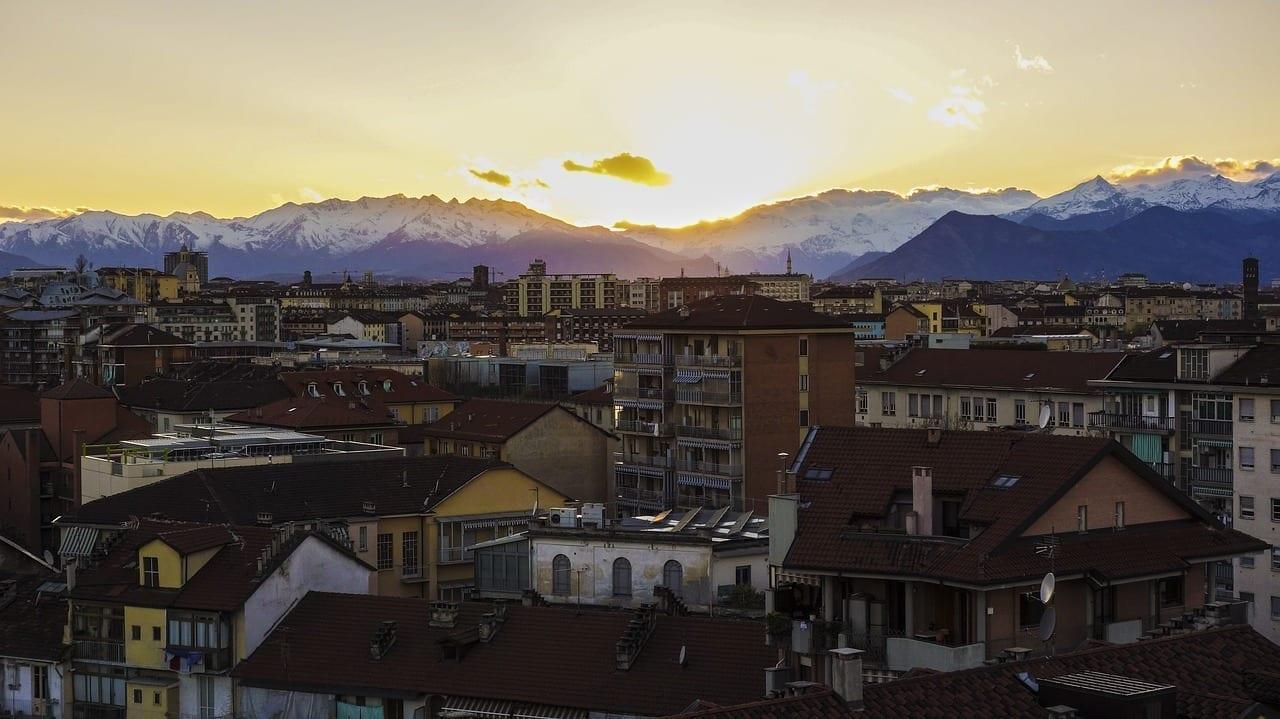 Turín Punto De Vista Puesta Del Sol Italia