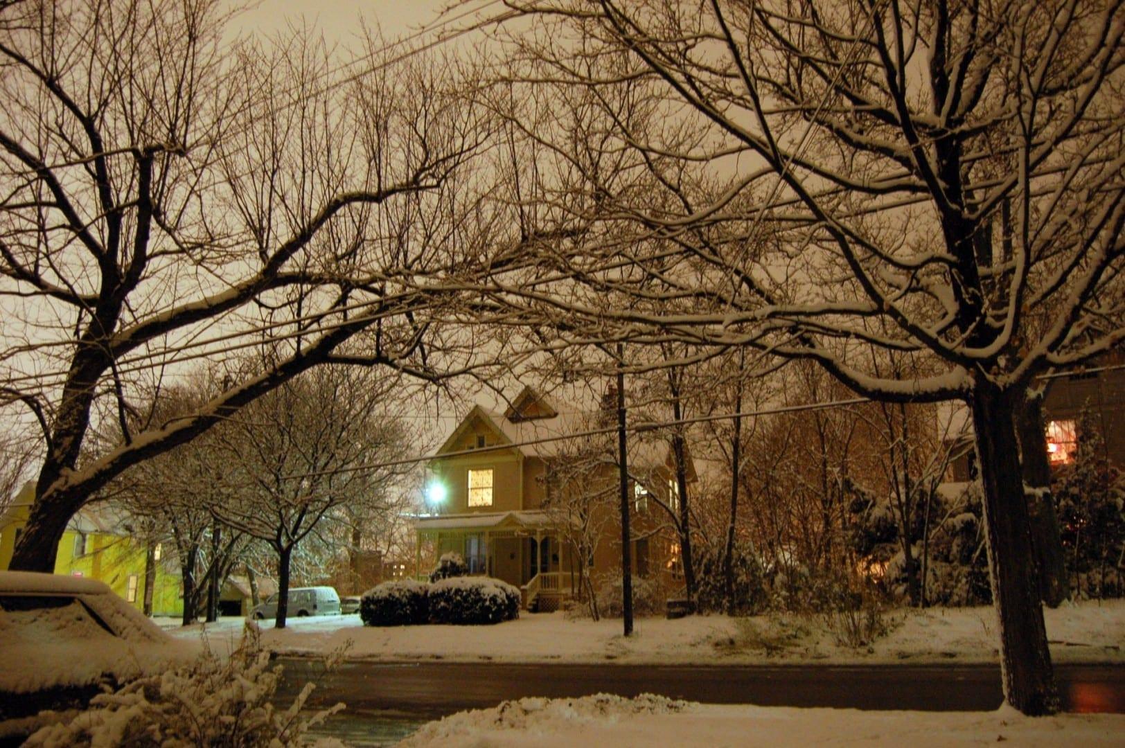Una calle de Ann Arbor en invierno Ann Arbor Estados Unidos