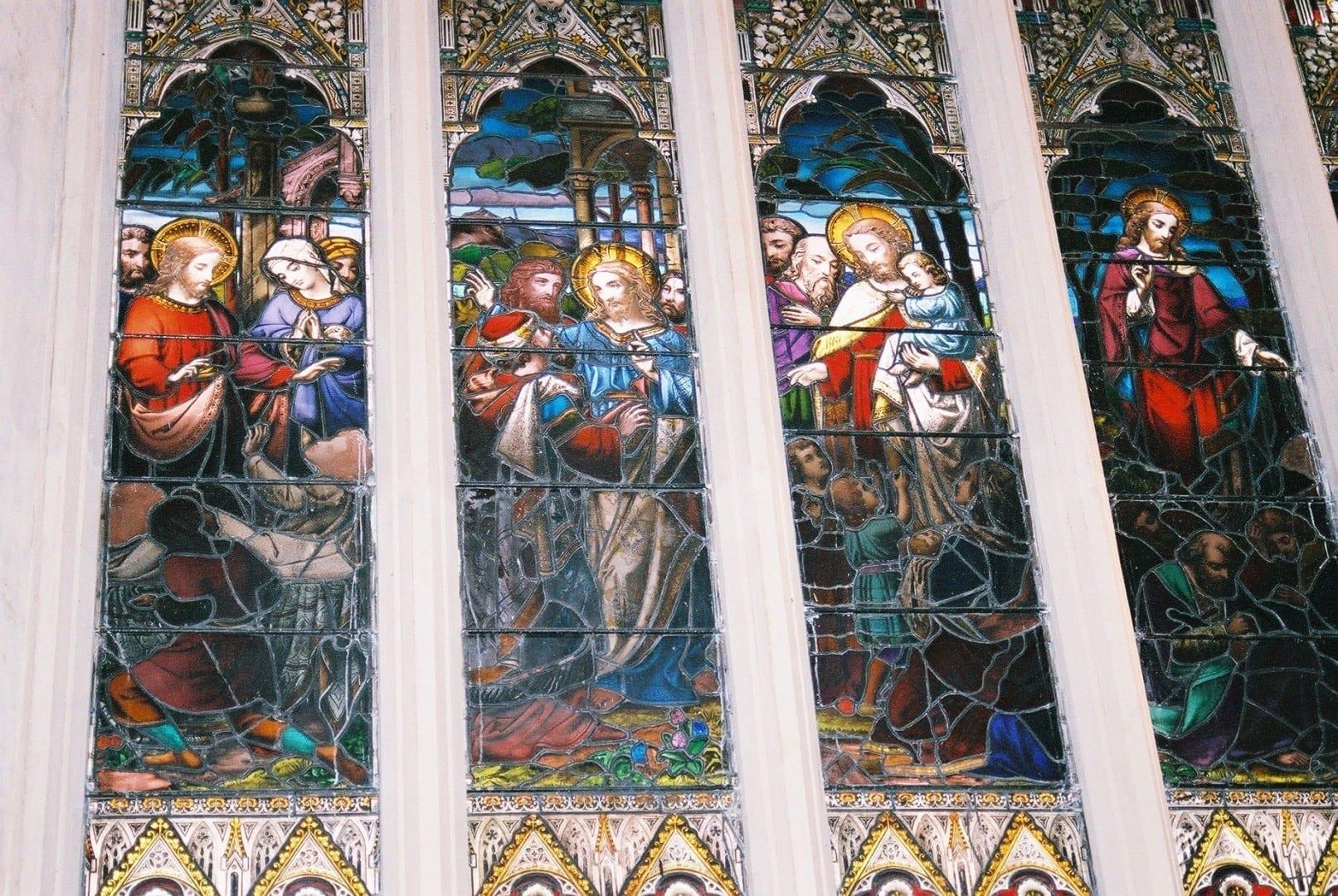 Una de las ventanas de Bath Abbey Bath Reino Unido