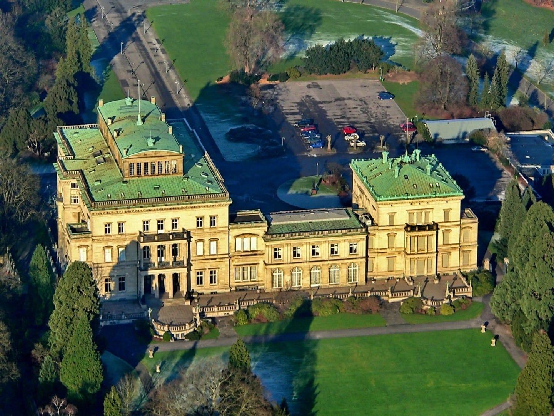 Vista aérea de la Villa Hügel Essen Alemania