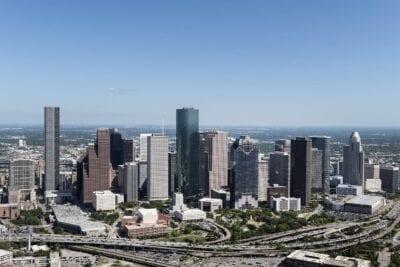 Vista Aérea Skyline De Houston Urbana Carreteras Estados Unidos