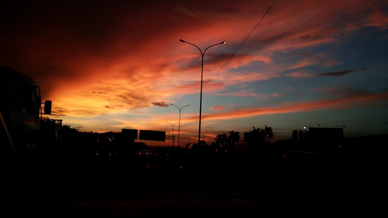 Yakarta Puesta De Sol Indonesio Indonesia