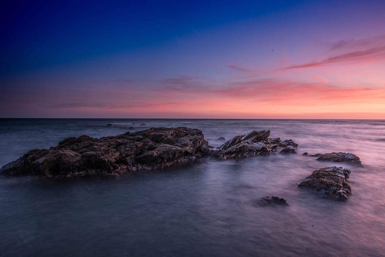 Atardecer Playa El Bombo Mijas Costa España