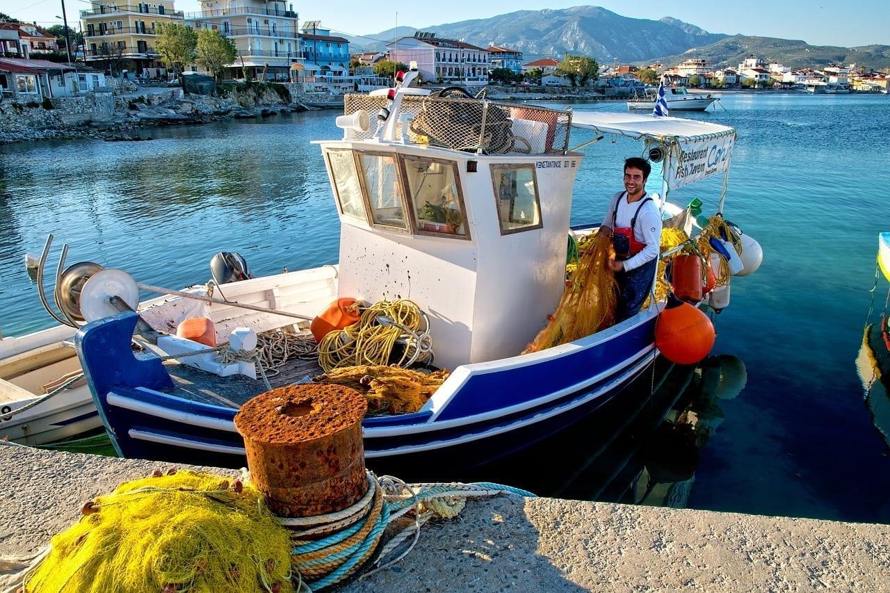 Barco De Pesca Samos Grecia Grecia