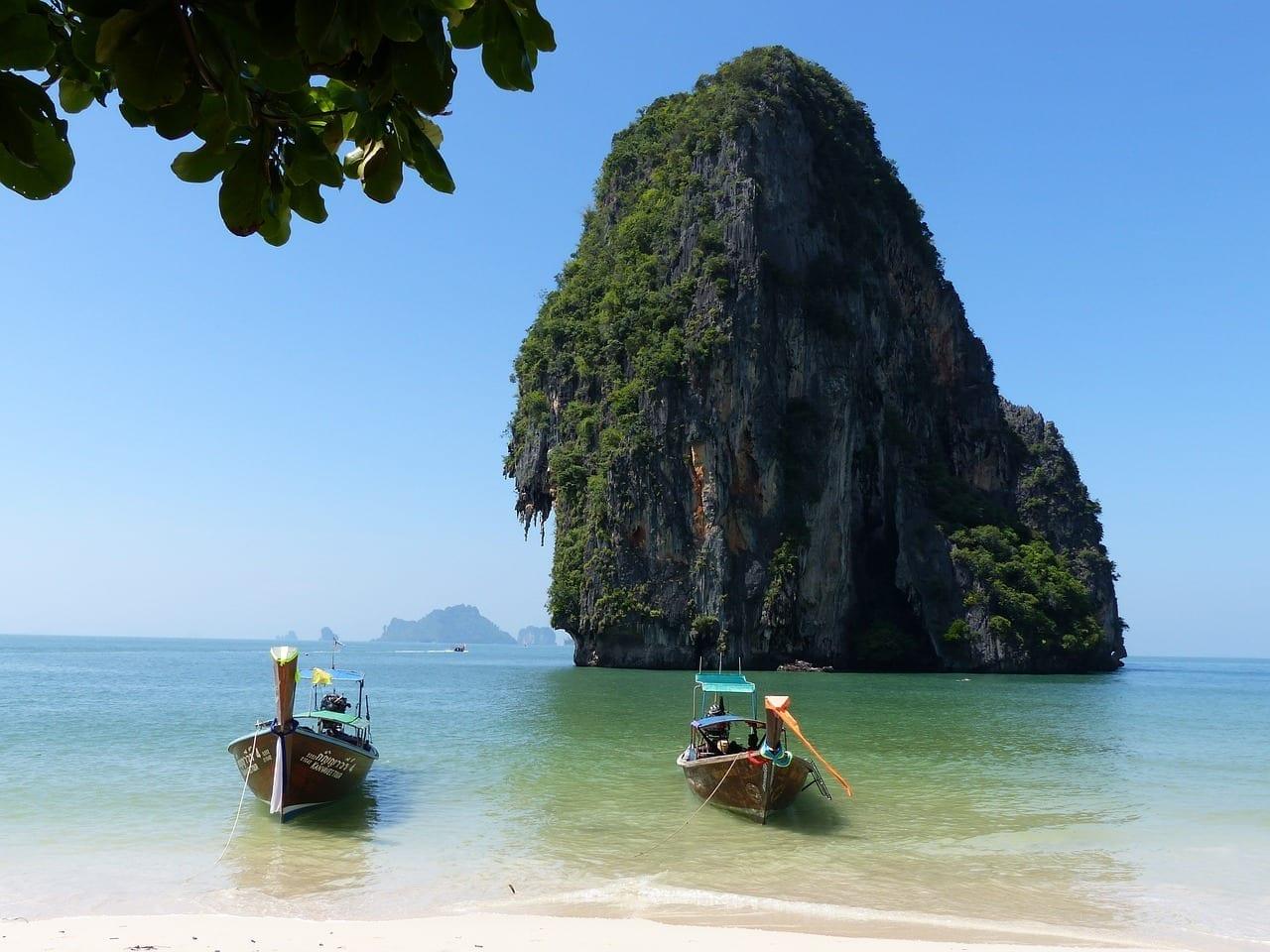 Barcos Habló La Playa Krabi Tailandia