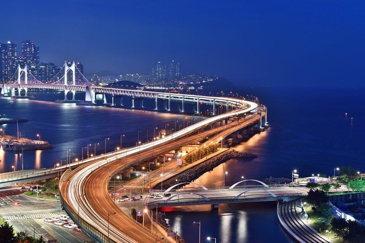 Busan Escena De La Noche Puente Busan Corea del Sur