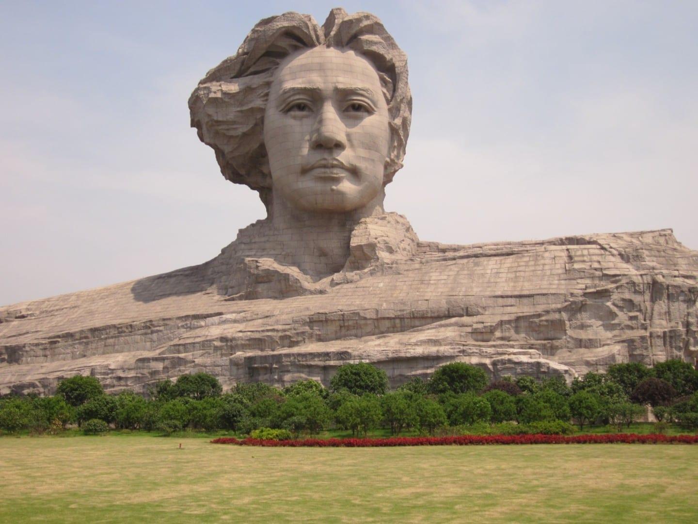 Busto gigante de un joven Mao Zedong en la Isla de Orange Changsha China
