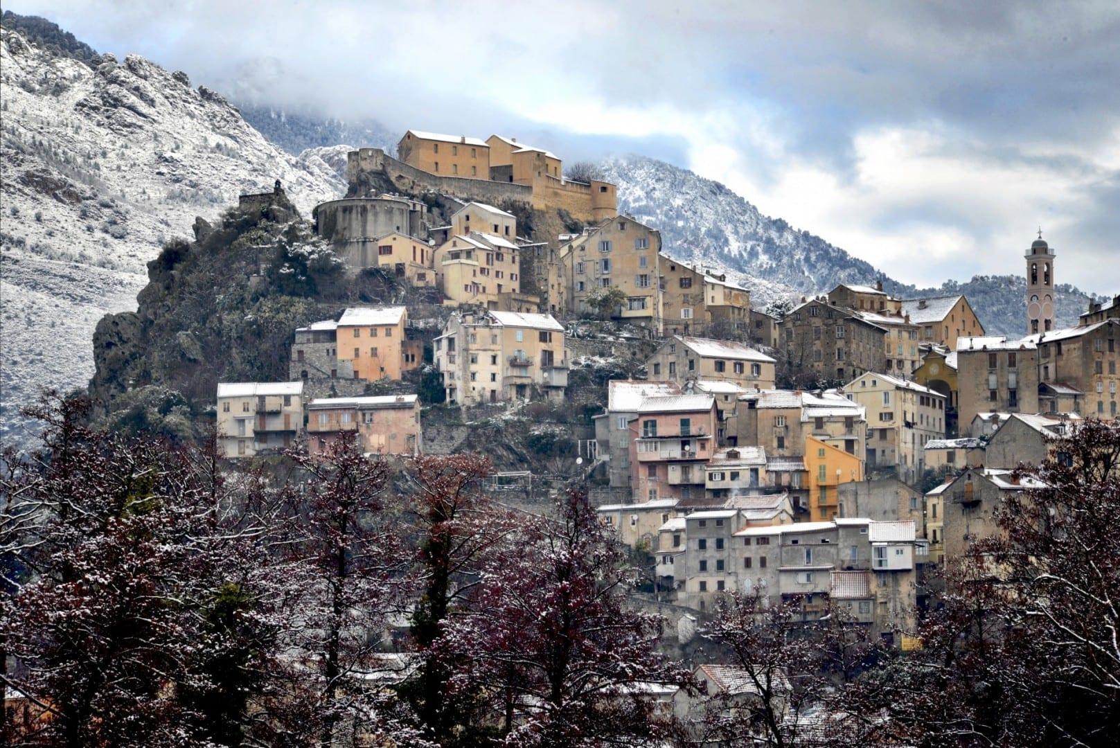 Corte en invierno Corte, Corsica Francia