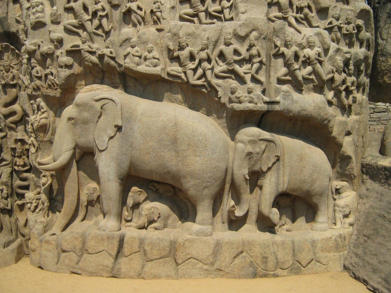 Detalle del bajorrelieve de la Penitencia de Arjuna Mamallapuram-Mahabalipuram India