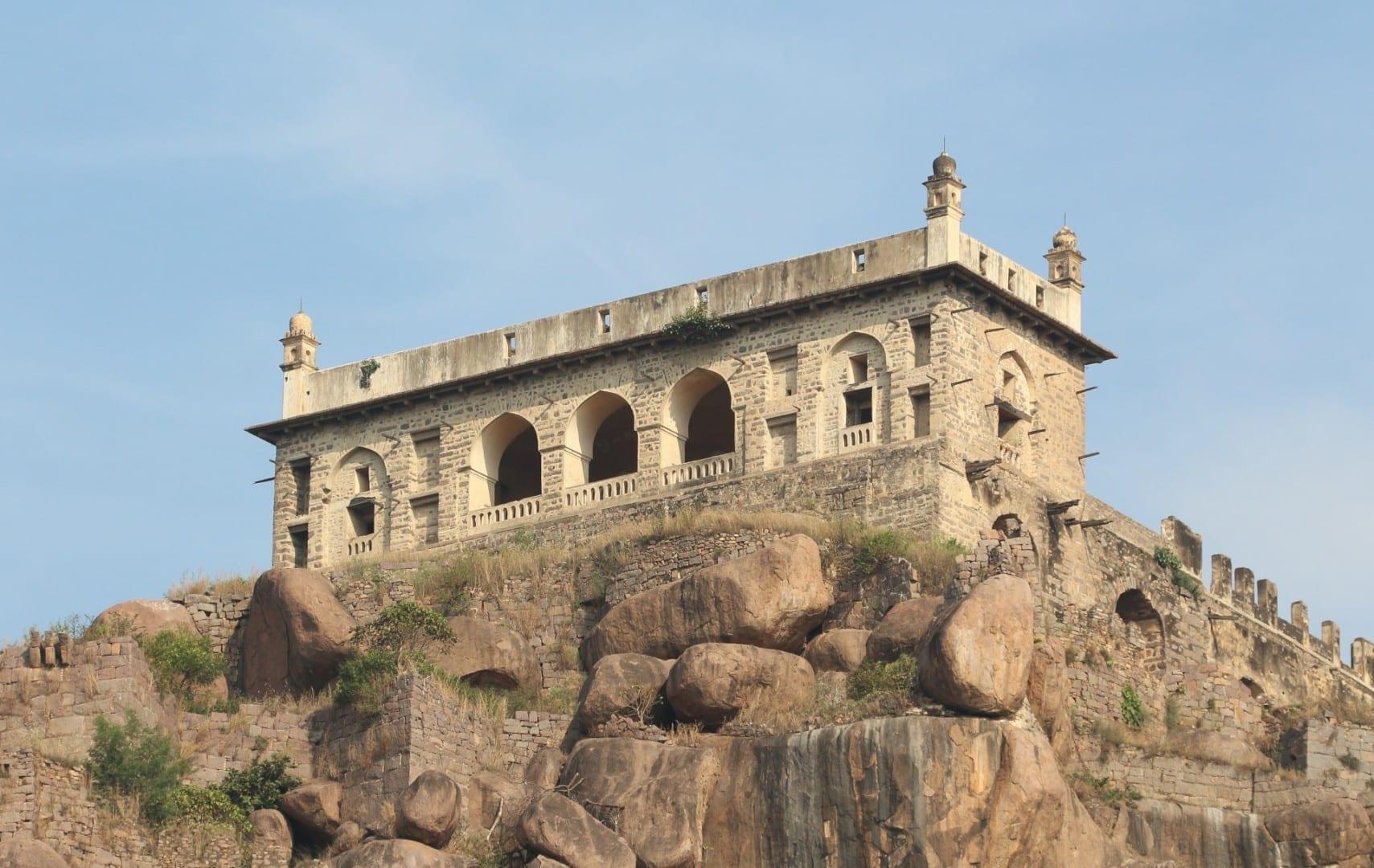 El Balahisar Baradari en la cima del Fuerte Golconda Hyderabad India