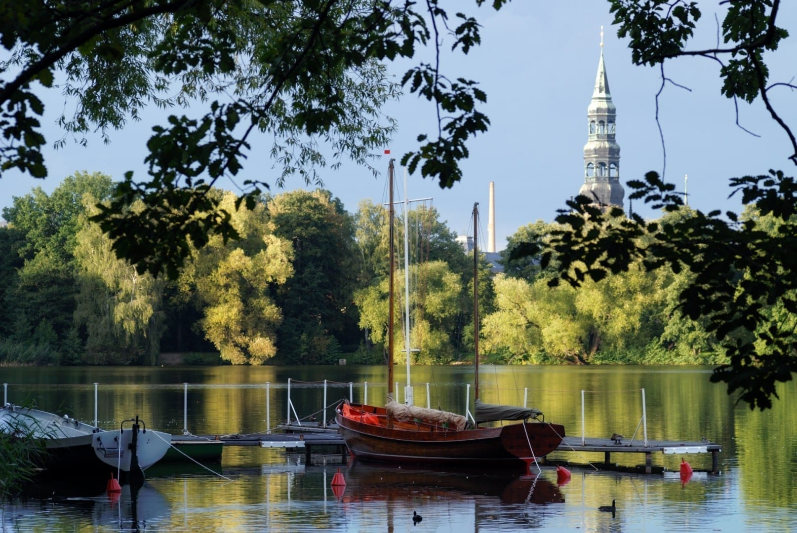 El estanque de los cisnes Zwickau Alemania