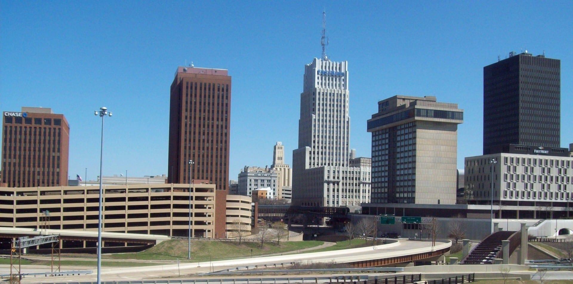 El horizonte del centro de Akron Akron Estados Unidos