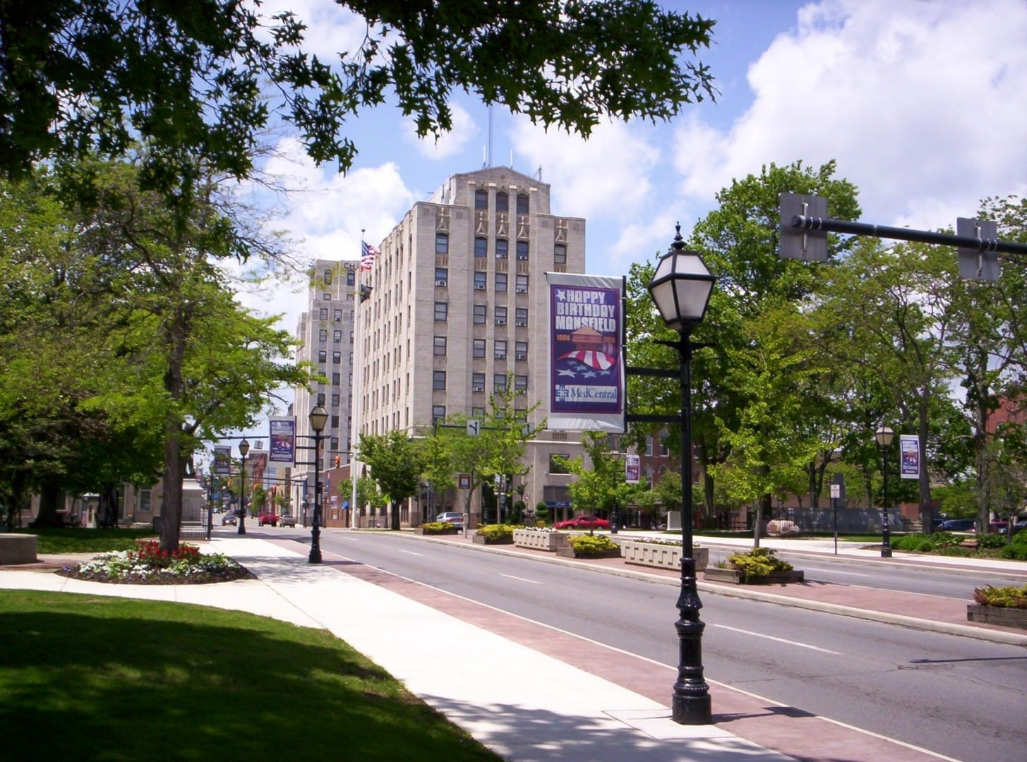 En el centro de Mansfield en Park Avenue East en el Central Park de la plaza. Mansfield OH Estados Unidos
