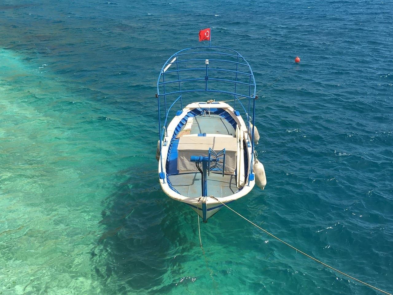 Kalkan Barco De Pesca Mar Egeo Turquía