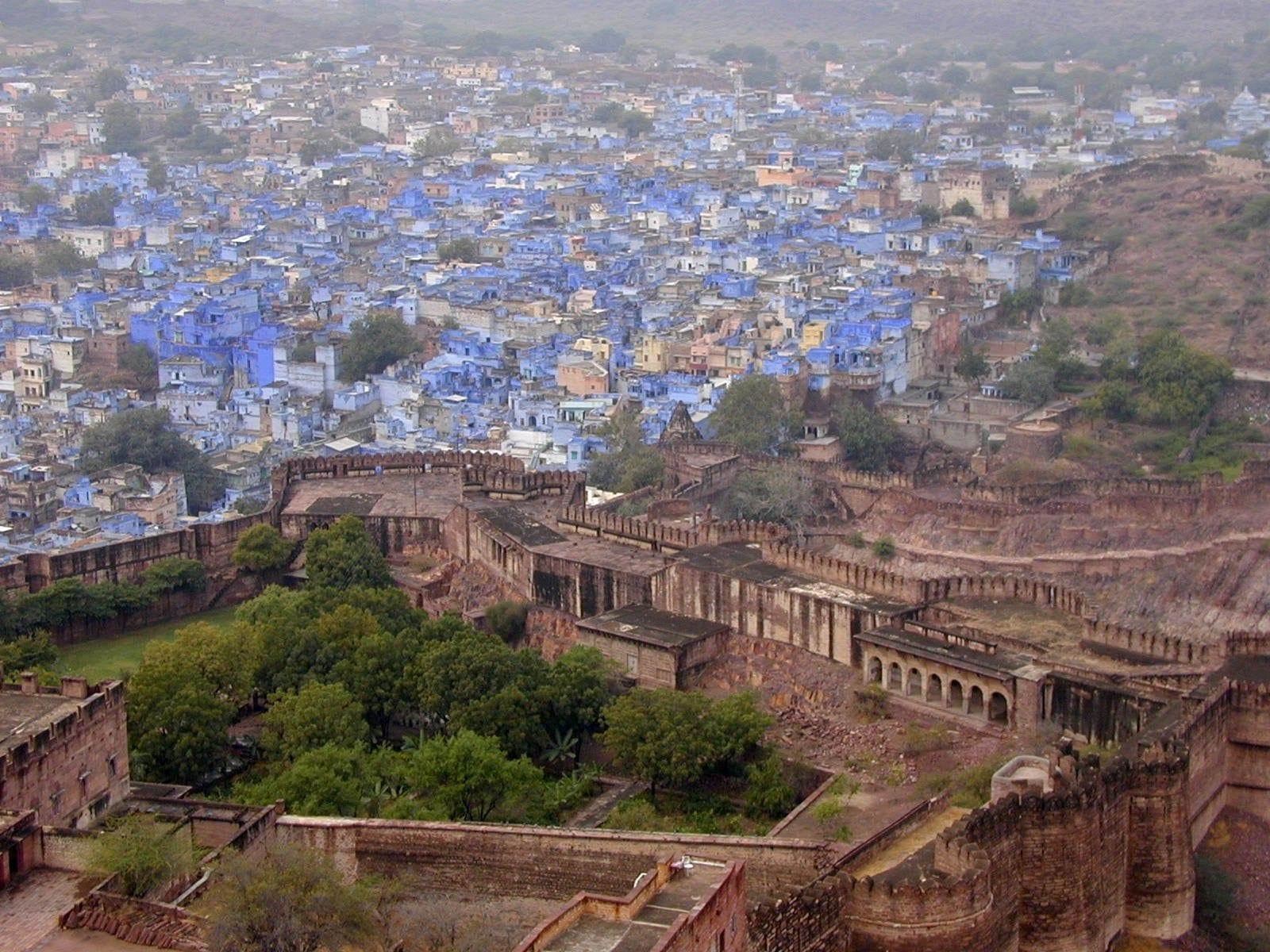 La Ciudad Azul de Brahmpur desde las murallas del Fuerte Mehrangarh Jodhpur India