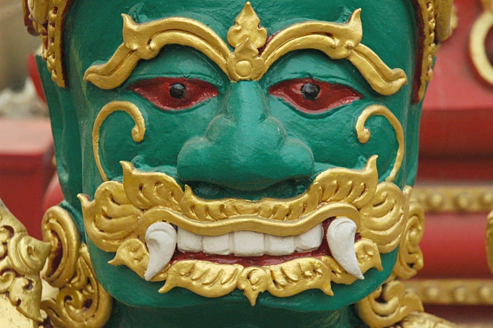 La estatua del guardián, Wat Klong Wiang Chiang Rai Tailandia
