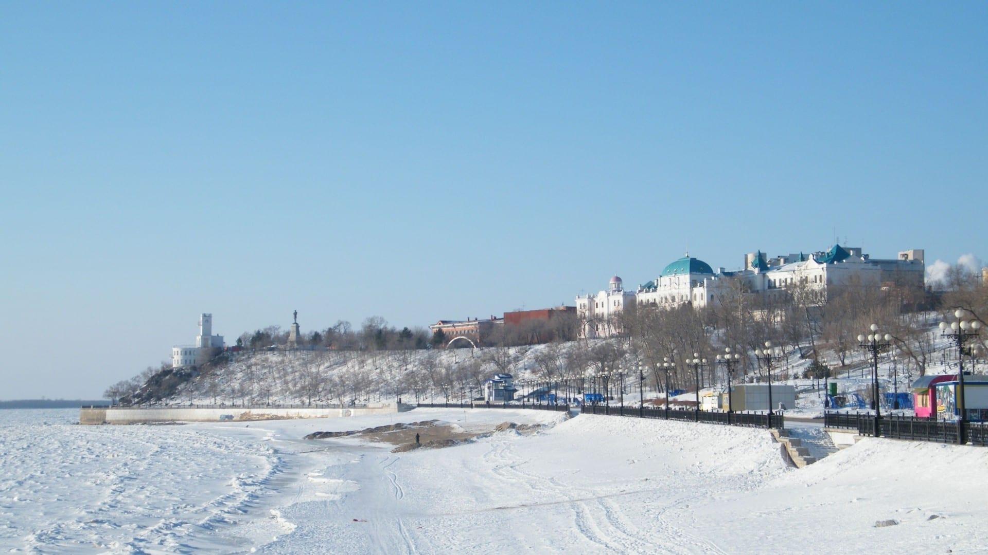 La orilla del río Amur en invierno. Khabarovsk Rusia