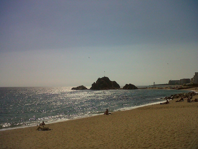 La roca de Sa Palomera de la playa de Blanes. Blanes España