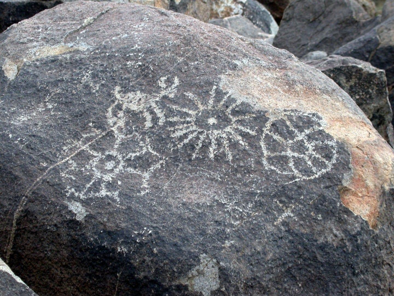 Los petroglifos de Hohokam en Saguaro West Saguaro Parque Nacional AZ Estados Unidos