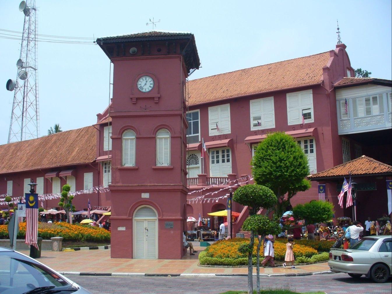 Los Stadhuys y la torre del reloj en el corazón del barrio histórico de Malaca Malacca Malasia