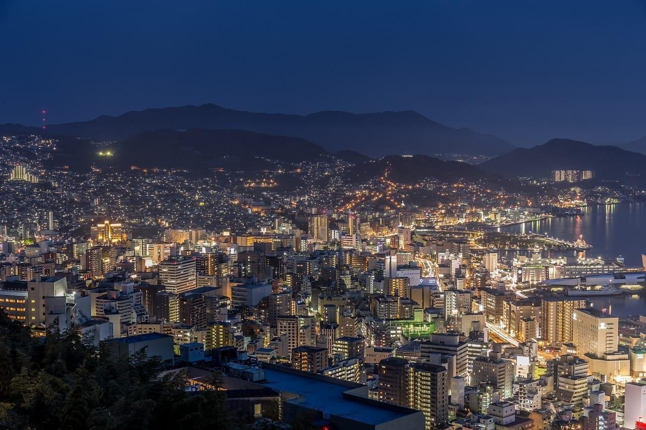 Nagasaki Vista De Noche Tres Grandes Vista De Noche De Japón Japón
