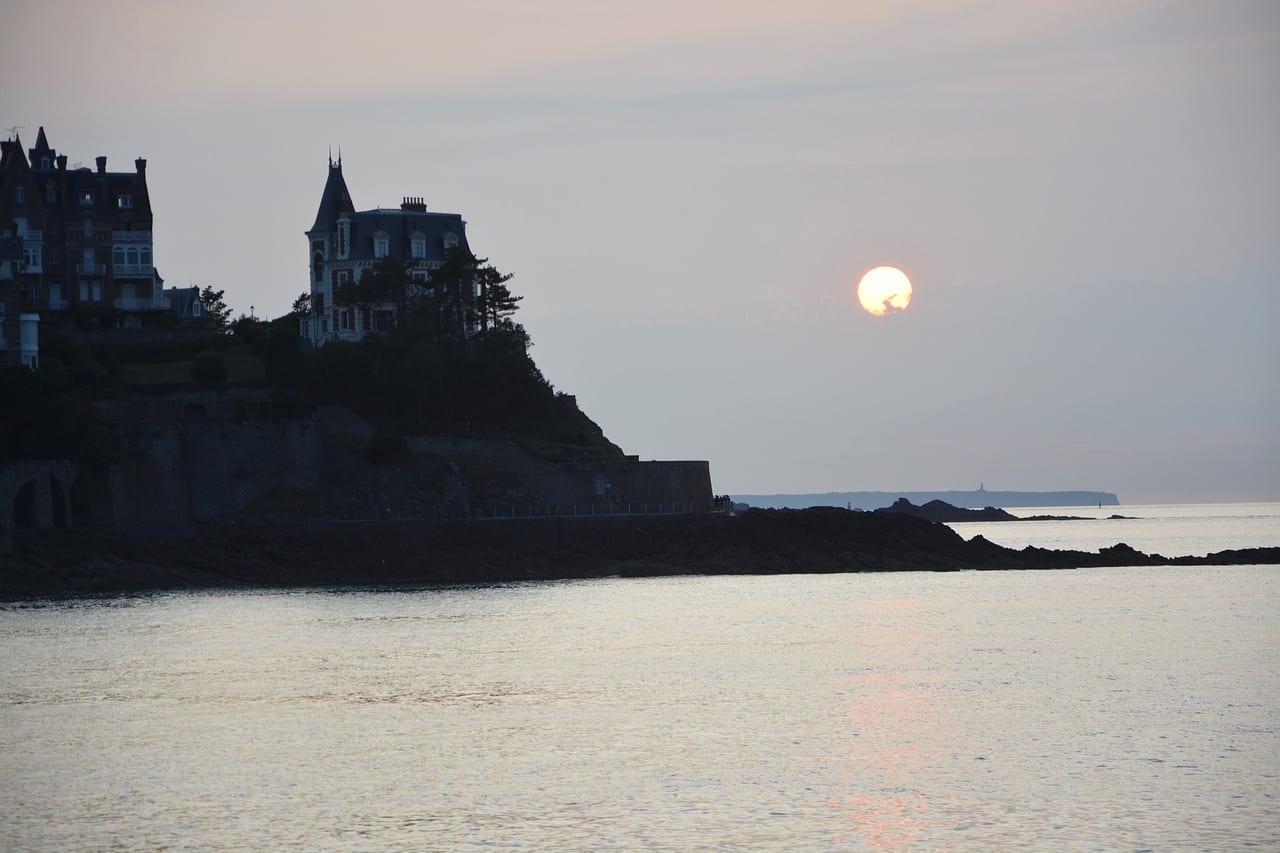 Puesta De Sol Dinard Gran Bretaña Naturaleza Francia