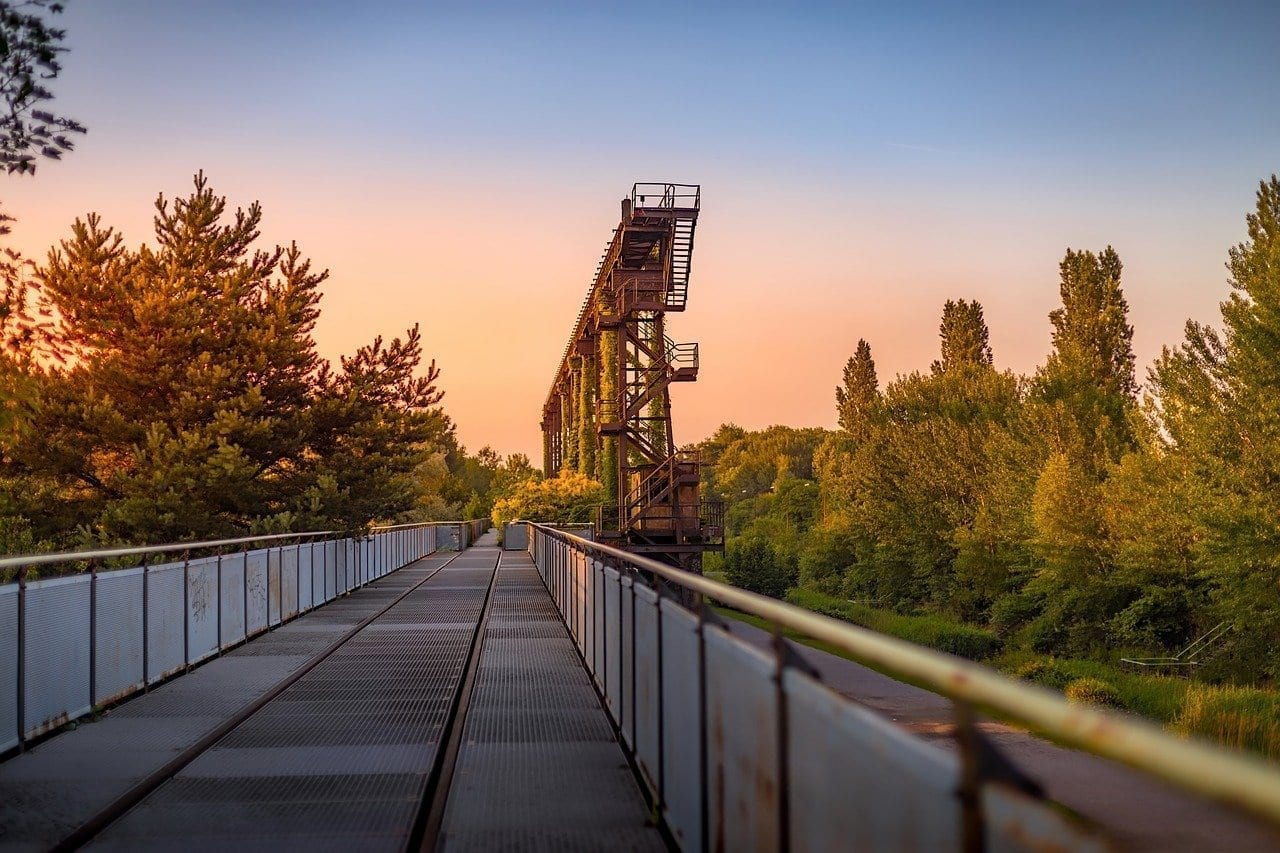 Puesta De Sol Landschaftspark Duisburg Alemania