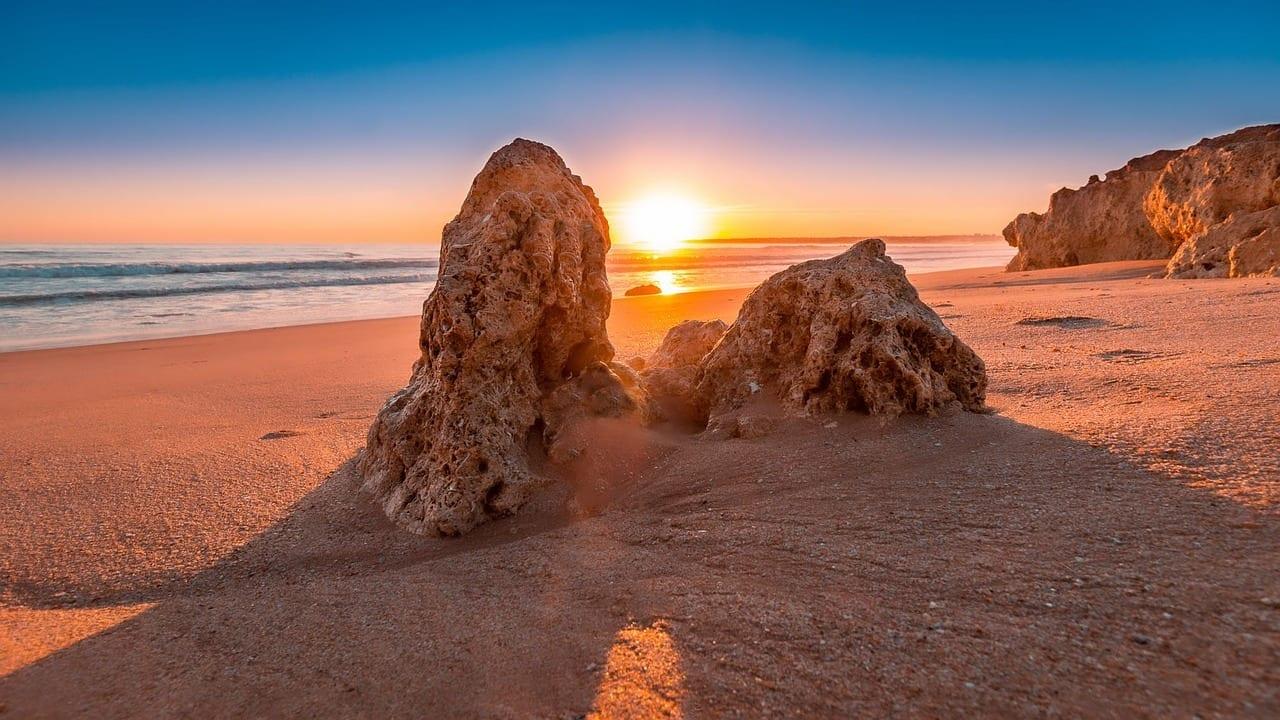 Puesta De Sol Playa Algarve Portugal