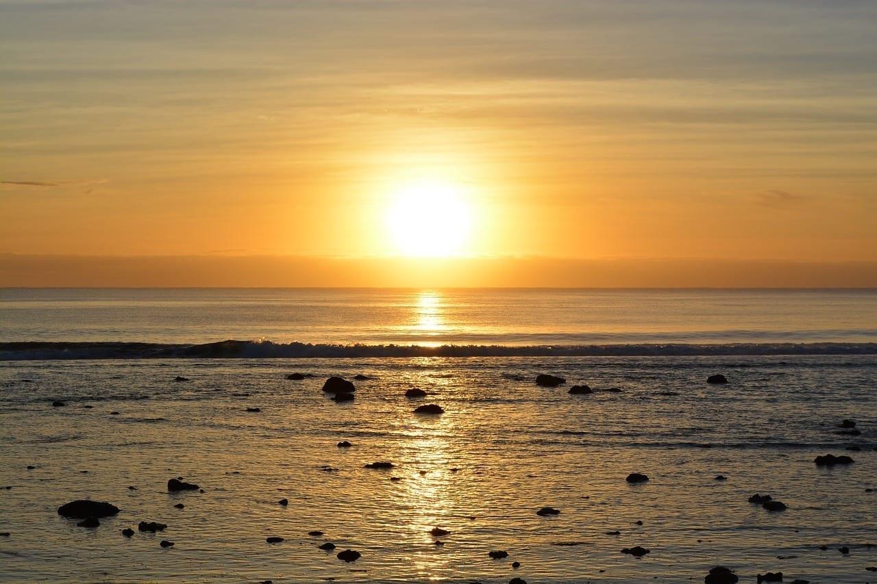 Puesta De Sol Rarotonga Océano Islas Cook