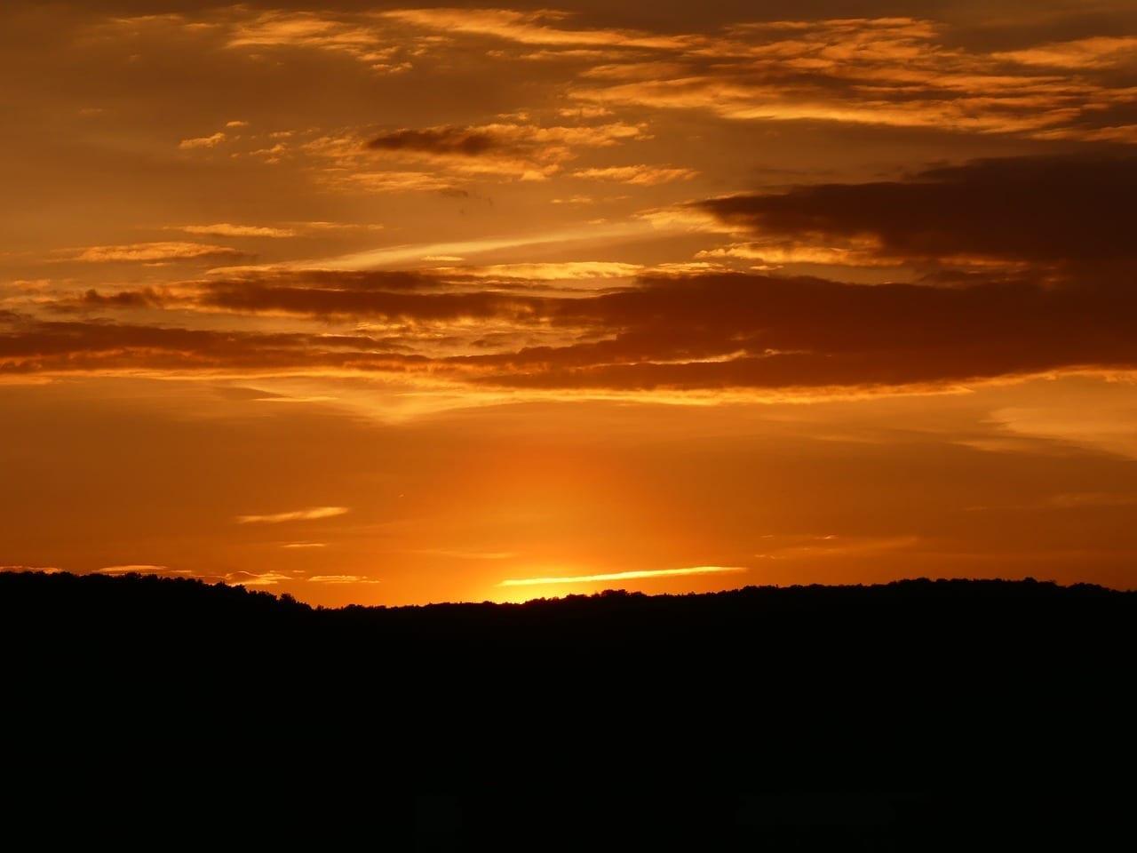 Puesta Del Sol Jena Nubes Alemania