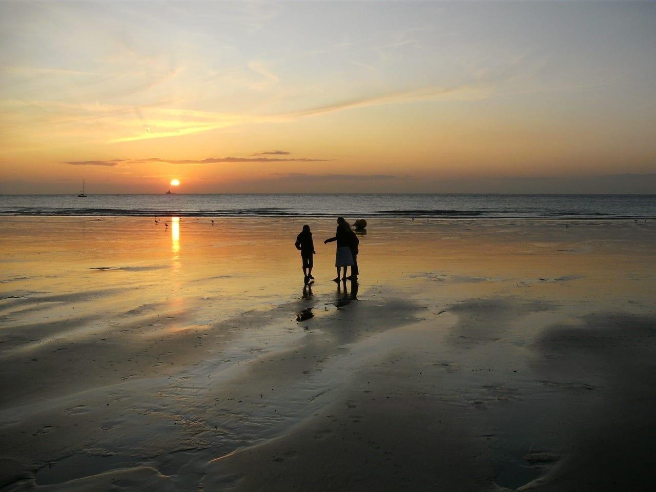 Puesta Del Sol Playa Calais Francia