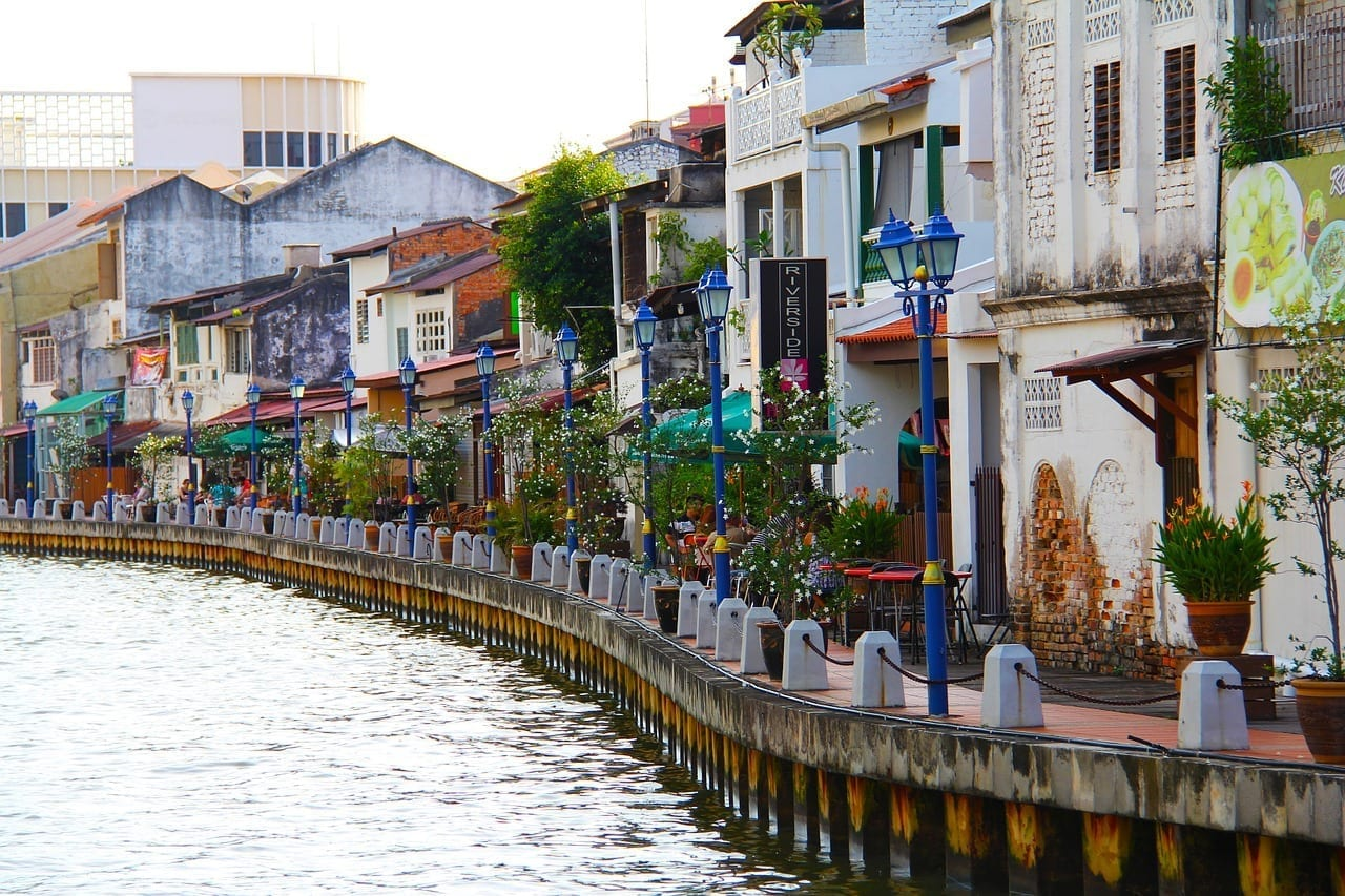 Río Malacca River Ciudad Malasia