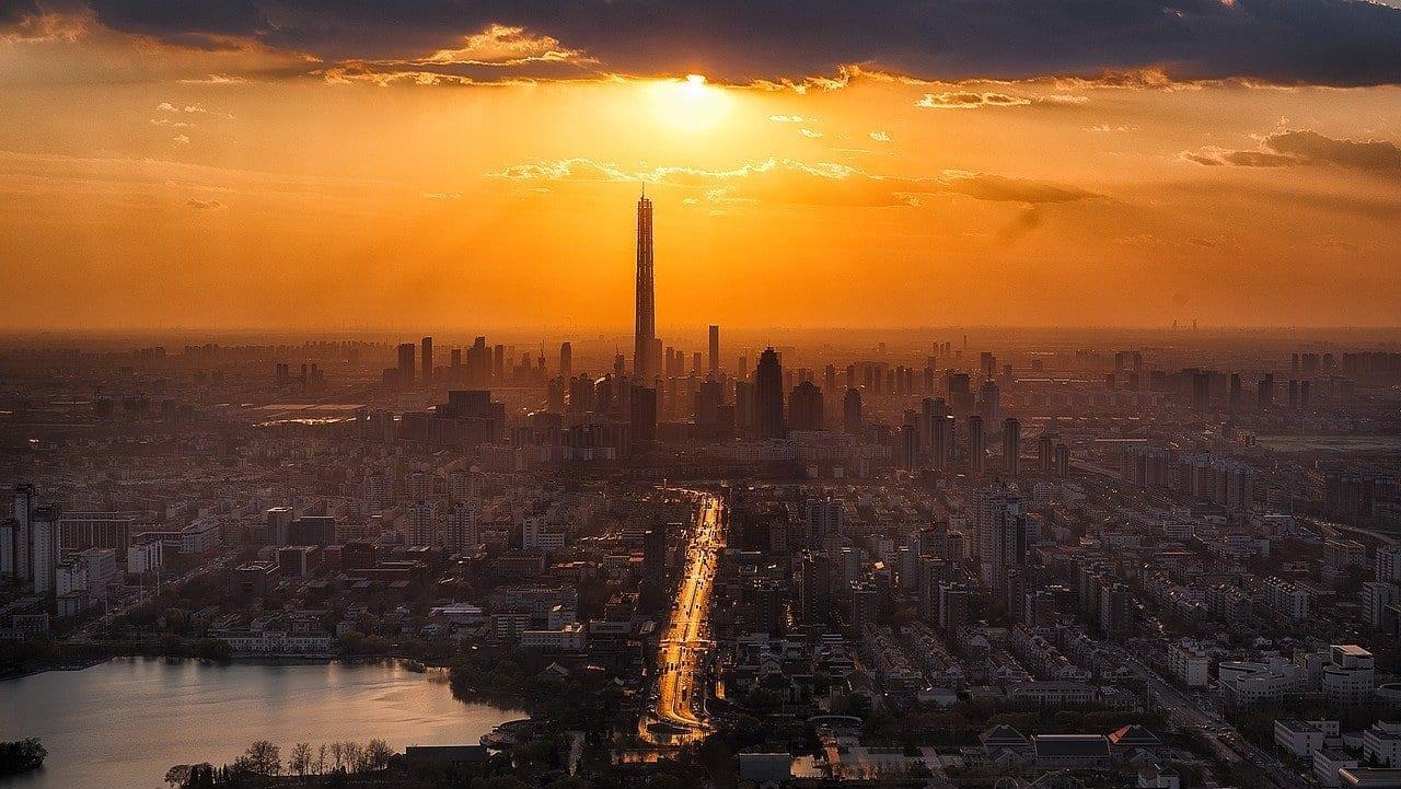 Tianjin Crepúsculo Ciudad China