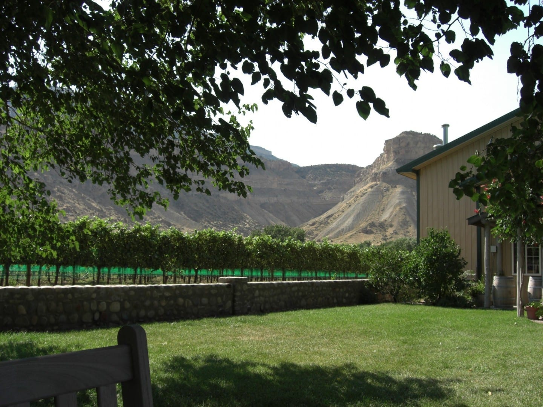 Una bodega de Grand Junction con el Monumento Nacional de Colorado al fondo Grand Junction CO Estados Unidos