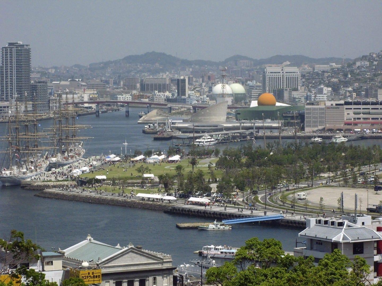 Una visión general de los muelles de Nagasaki. Nagasaki Japón