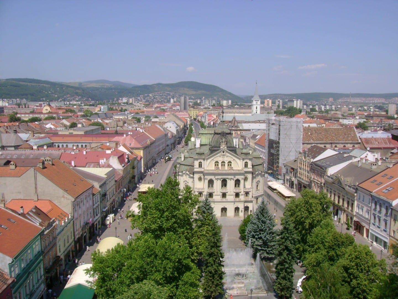Vista de la calle principal (Hlavná ulica) desde la catedral de Santa Isabel Košice República Eslovaca