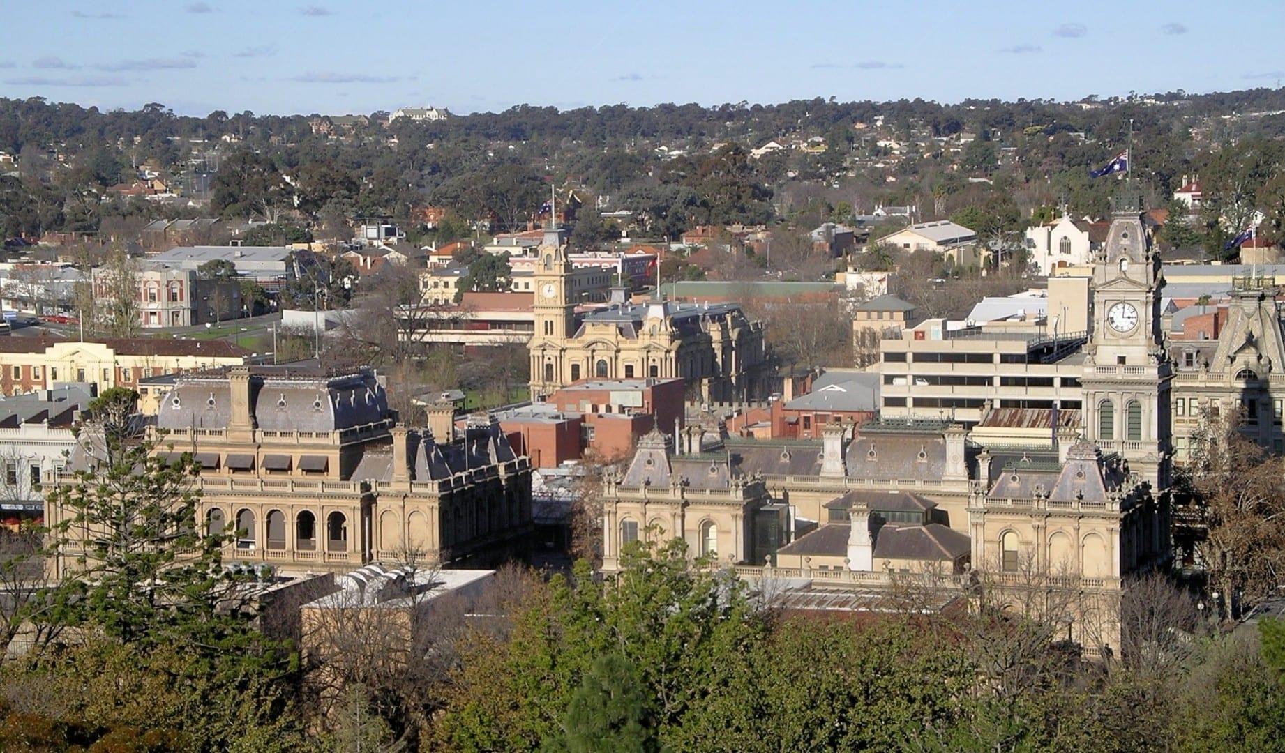 Vista del Bendigo central desde los jardines botánicos Bendigo Australia