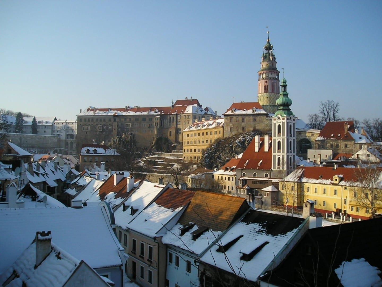 Vista del centro de la ciudad con el castillo Český Krumlov República Checa