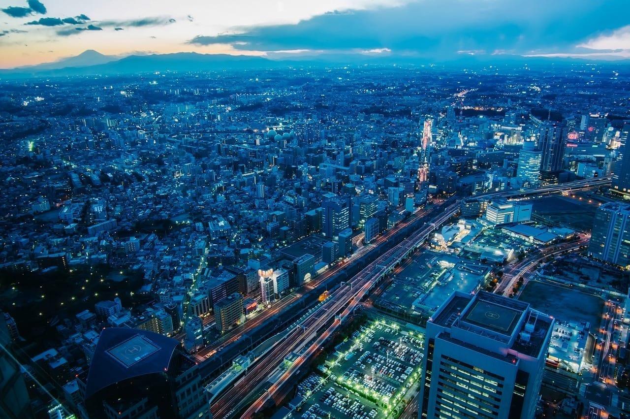 Yokohama Japón Puesta De Sol Japón